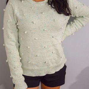 Modcloth Sweaters - ModCloth Mint green Pom-Pom knit sweater